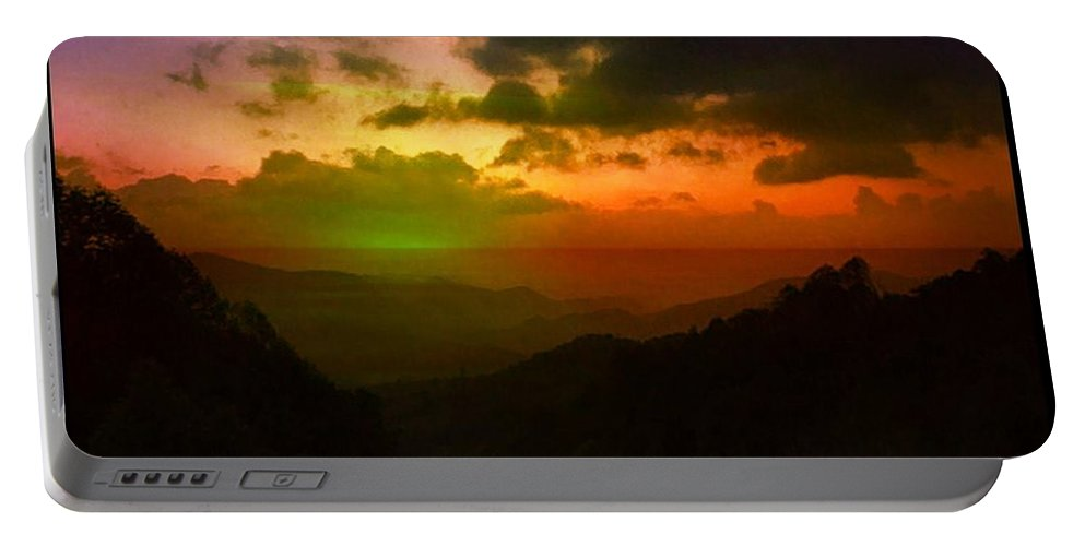 Sunset Portable Battery Charger featuring the photograph Gatsby Glow by Ellen Cannon