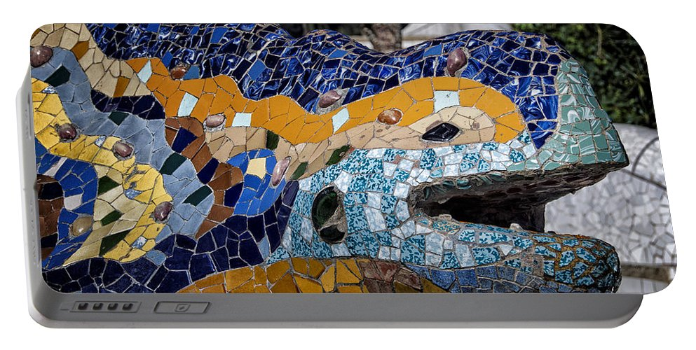 Joan Carroll Portable Battery Charger featuring the photograph Gaudi Dragon by Joan Carroll