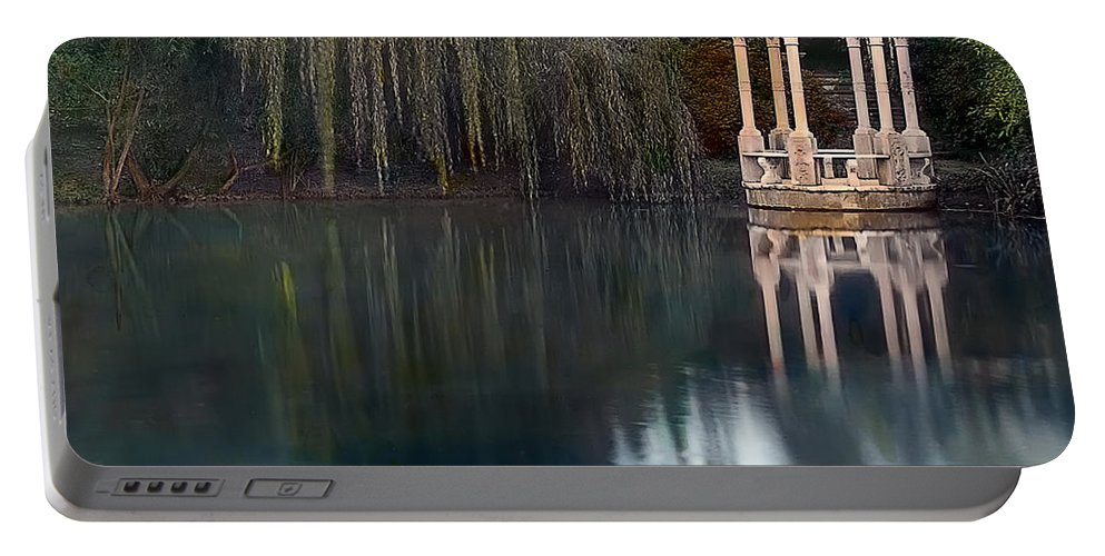 Tranquil Portable Battery Charger featuring the photograph Gazebo And Lake by Terry Reynoldson
