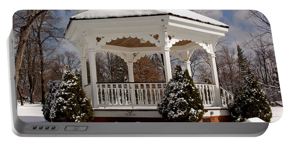 Gazebo Portable Battery Charger featuring the photograph Gazebo At Olmsted Falls - 2 by Mark Madere