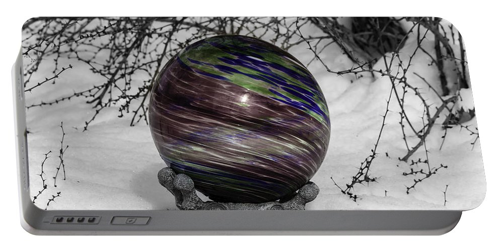 Tlk Portable Battery Charger featuring the photograph Gazing Ball Squared by Teresa Mucha