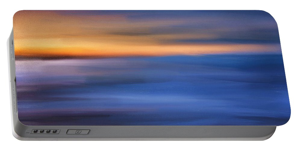Seascapes Abstract Portable Battery Charger featuring the digital art Gazing The Horizon by Lourry Legarde