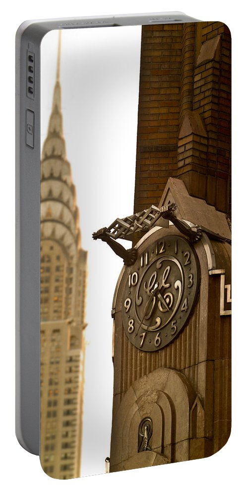 Waiting Room Portable Battery Charger featuring the photograph General Electric Building 1 by David Smith