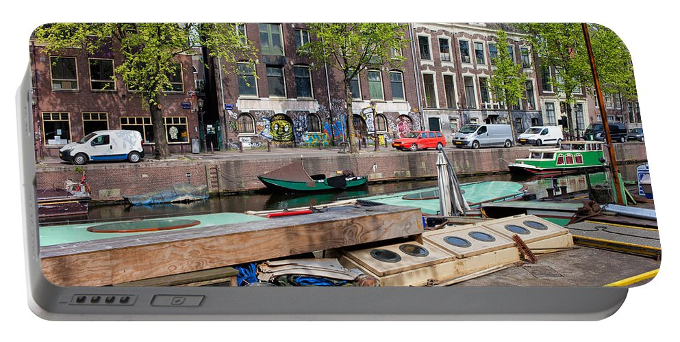 Amsterdam Portable Battery Charger featuring the photograph Geldersekade Canal In Amsterdam by Artur Bogacki