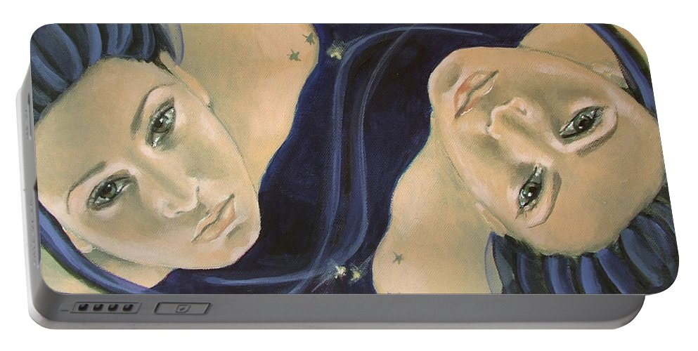 Constellation Portable Battery Charger featuring the painting Gemini From Zodiac Series by Dorina Costras
