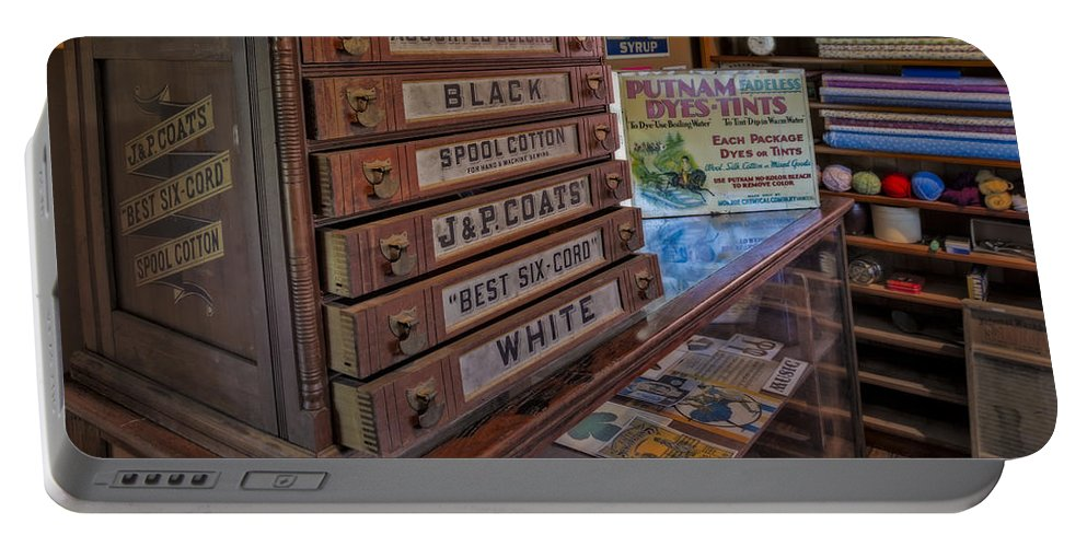 J.&p. Coats Portable Battery Charger featuring the photograph General Store by Susan Candelario