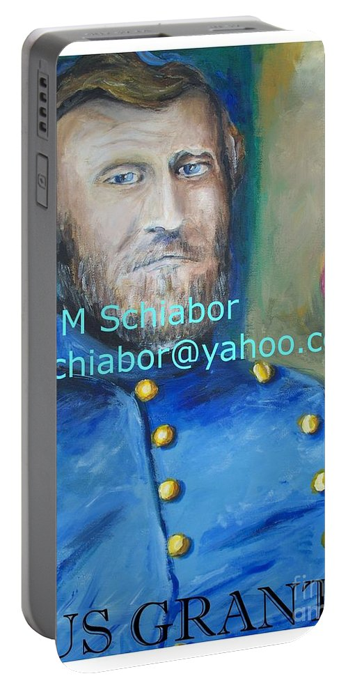 Grant Artwork Portable Battery Charger featuring the painting General Us Grant by Eric Schiabor