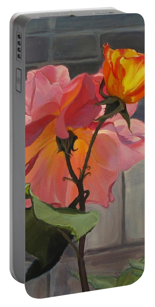 Flowers Portable Battery Charger featuring the painting Generations by Karen Ilari