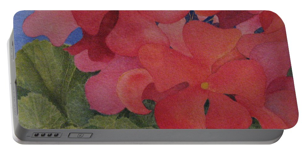 Florals Portable Battery Charger featuring the painting Generium by Mary Ellen Mueller Legault