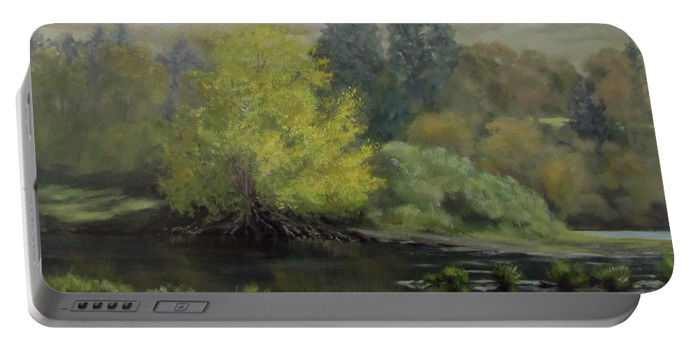 Landscape Portable Battery Charger featuring the painting Gentle Morning by Karen Ilari