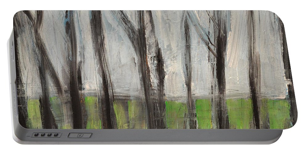 Trees Portable Battery Charger featuring the painting Gentle Rain by Tim Nyberg
