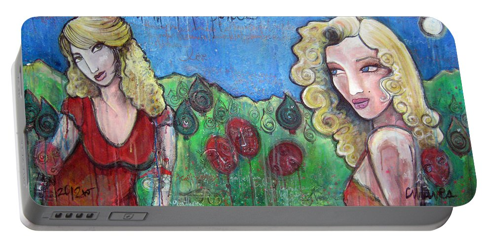 Marilyn Monroe Portable Battery Charger featuring the painting Gentlemen Prefer Blondes by Laurie Maves ART