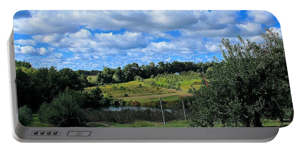Apple Orchard Portable Battery Charger featuring the photograph George Hill Orchard by Michael Saunders