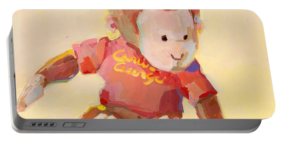 Curious George Portable Battery Charger featuring the painting George by Kimberly Santini
