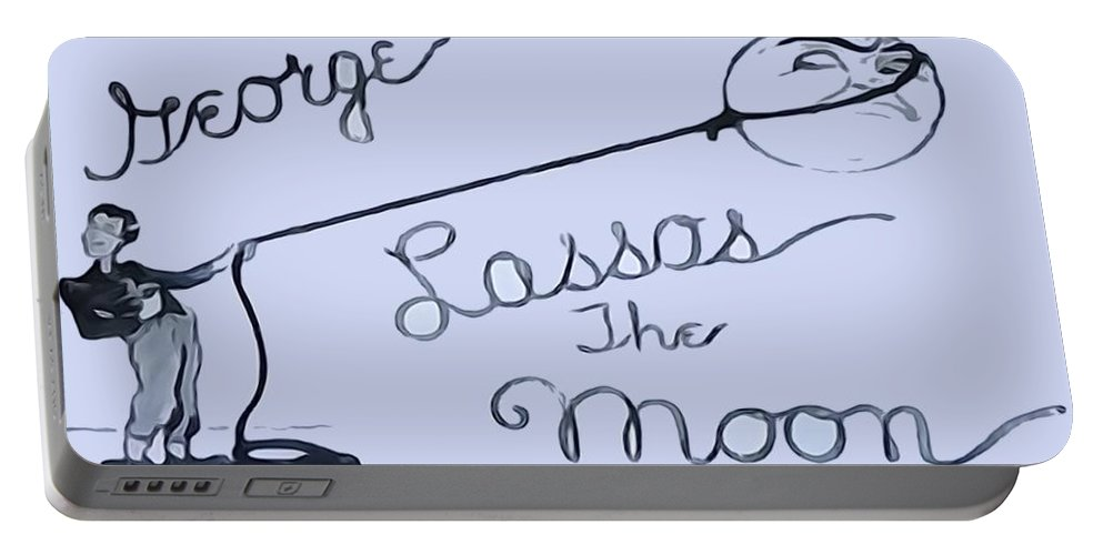 George Lassos The Moon Portable Battery Charger featuring the digital art George Lassos The Moon by Dan Sproul