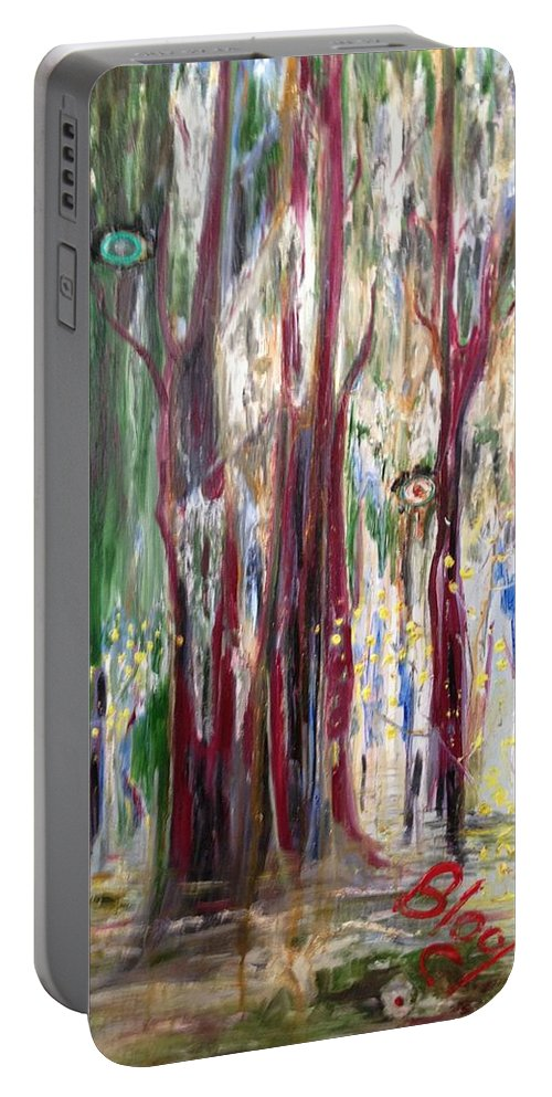 Trees Portable Battery Charger featuring the painting Georgia Marsh in March by Peggy Blood