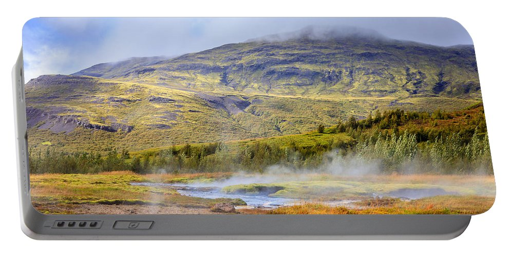 Europe Portable Battery Charger featuring the photograph Geothermal Pools by Alexey Stiop