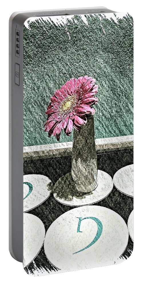 Abstract Portable Battery Charger featuring the photograph Gerbera Daisy by Jonathan Nguyen