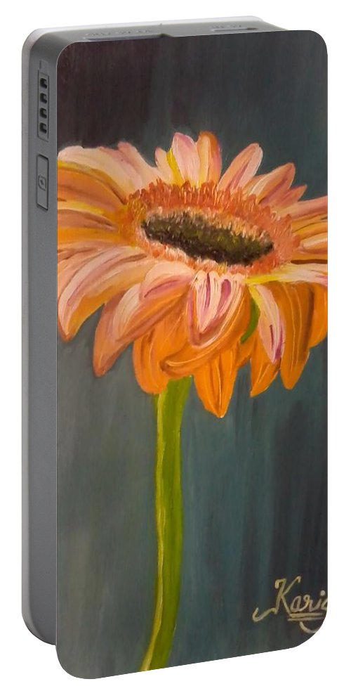 Daisy Portable Battery Charger featuring the painting Gerbera by KarishmaticArt -Karishma Desai