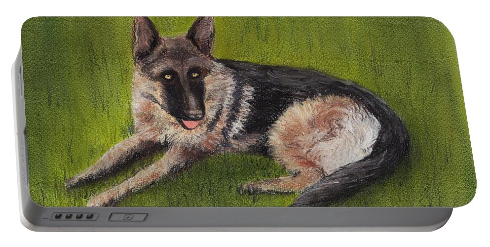 Look Portable Battery Charger featuring the painting German Shepherd by Anastasiya Malakhova