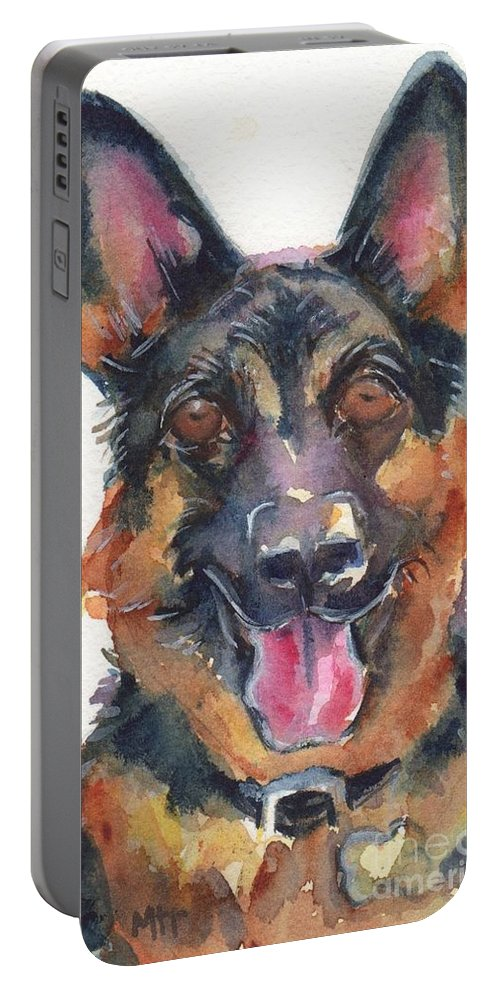 German Shepherd Dog Painting Portable Battery Charger featuring the painting German Shepherd Watercolor by Maria's Watercolor