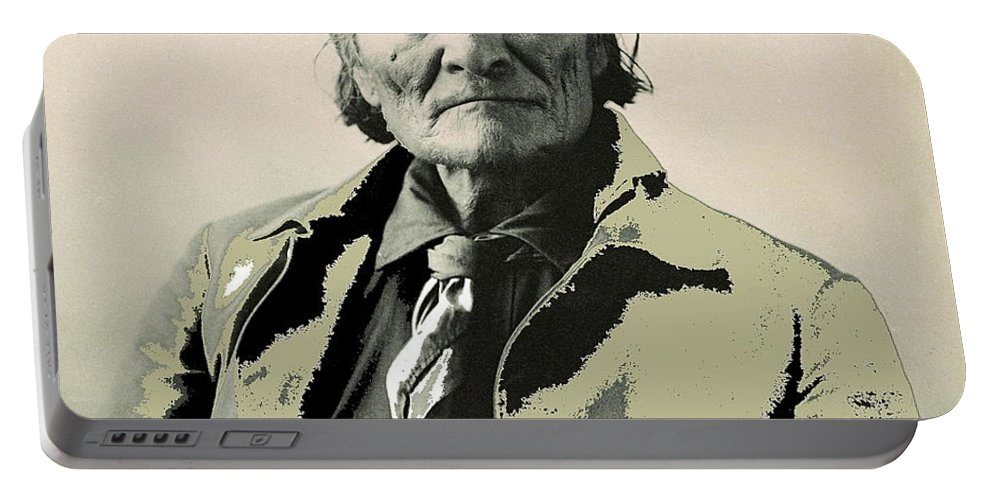 Geronimo As Photographed By A. Rinehart Omaha Nebrasks 1898-2013. Portable Battery Charger featuring the photograph Geronimo As Photographed By A. Rinehart Omaha Nebrasks 1898-2013. by David Lee Guss