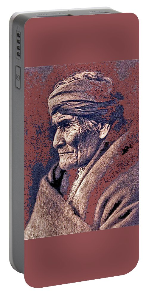Geronimo Photographed By Edward S. Curtis 1903-2013 Portable Battery Charger featuring the photograph Geronimo Photographed By Edward S. Curtis 1903-2013 by David Lee Guss