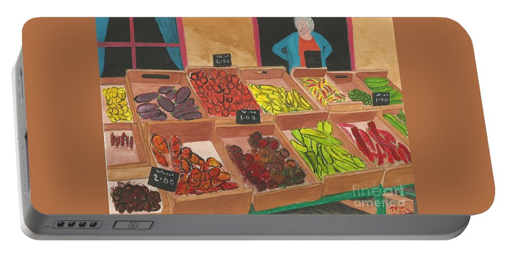 Stall Portable Battery Charger featuring the painting Get Your Five A Day by John Williams