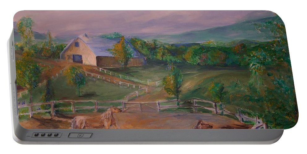 Pennsylvania Portable Battery Charger featuring the painting Gettysburg Farm by Eric Schiabor