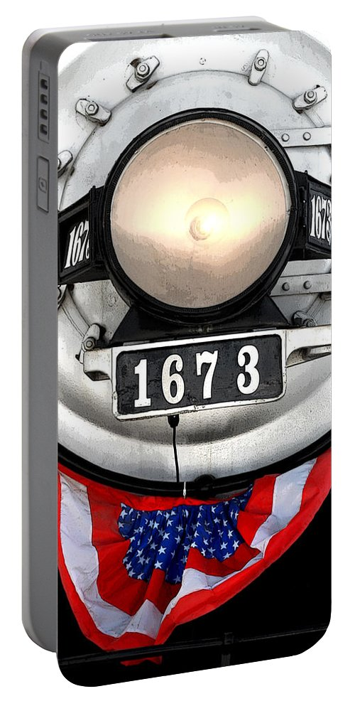 Railroad Portable Battery Charger featuring the photograph Ghost Engine by Joe Kozlowski