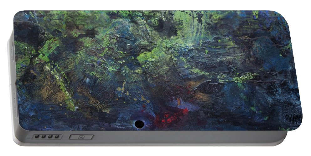 Abstract Portable Battery Charger featuring the painting Giant Supernova by Laurie Maves ART