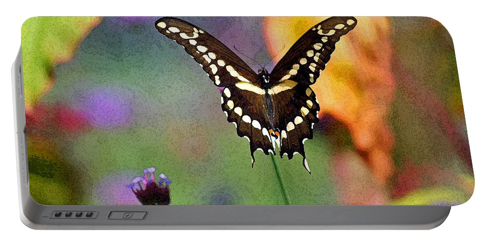 Portable Battery Charger featuring the photograph Giant Swallowtail Butterfly Photo-painting by Karen Adams