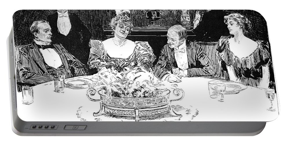 1896 Portable Battery Charger featuring the photograph Gibson: Dinner Party by Granger