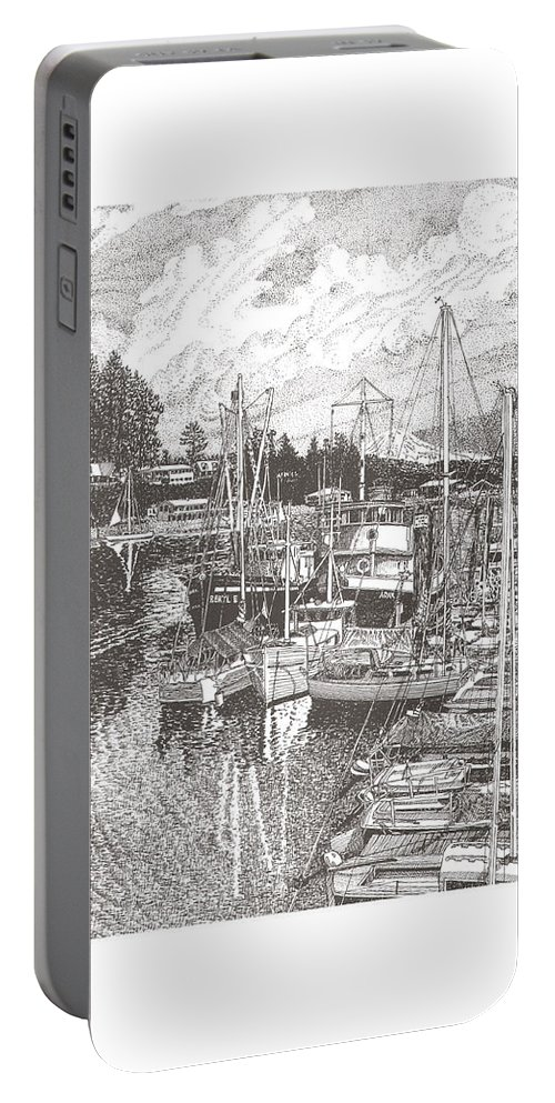 Yacht Portraits Portable Battery Charger featuring the drawing Gig Harbor Entrance by Jack Pumphrey