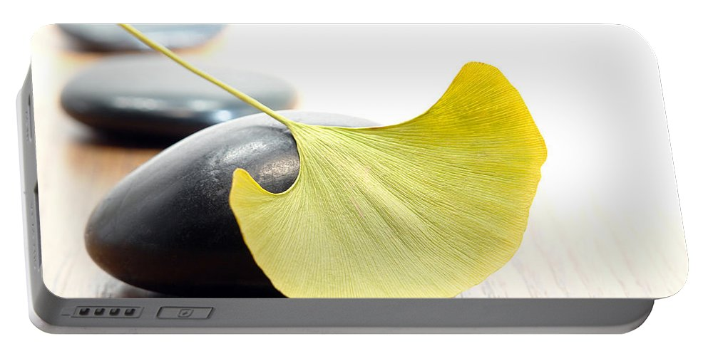 Gingko Portable Battery Charger featuring the photograph Ginkgo Leaf by Olivier Le Queinec