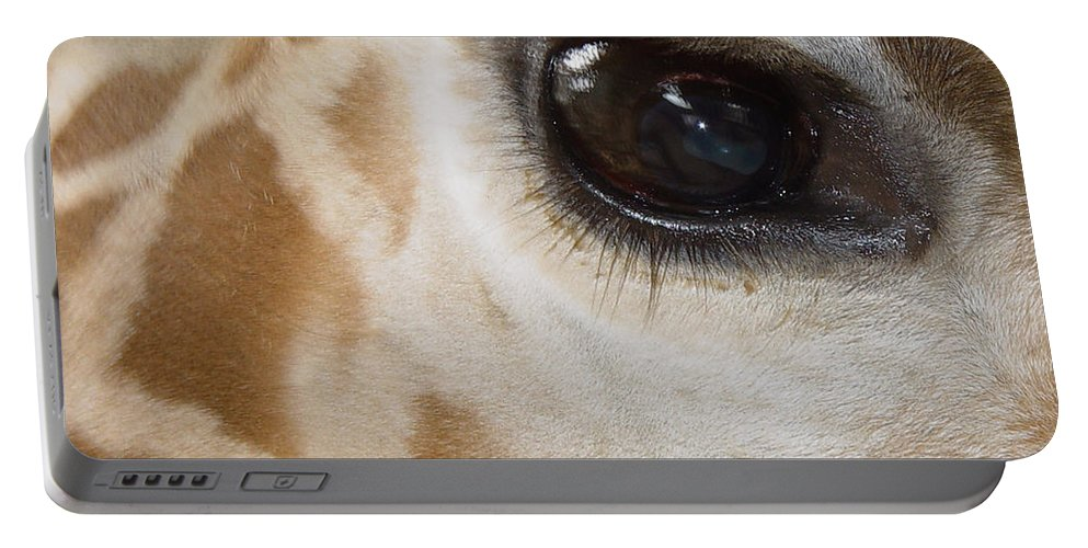Giraffe Portable Battery Charger featuring the photograph Giraffe Eye by Heather Coen