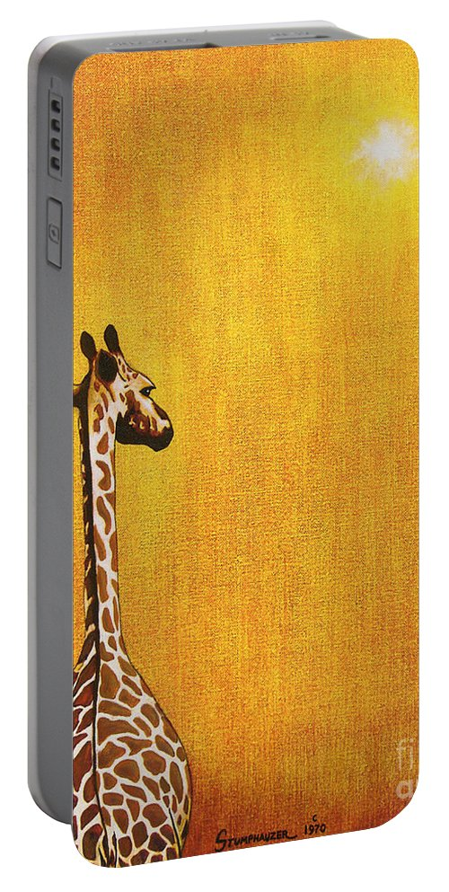 Giraffe Portable Battery Charger featuring the painting Giraffe Looking Back by Jerome Stumphauzer