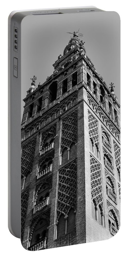 Seville Portable Battery Charger featuring the photograph Giralda In Black And White by Andrea Mazzocchetti