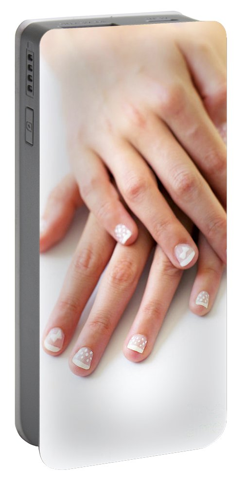Adult Portable Battery Charger featuring the photograph Girl Hands by Carlos Caetano