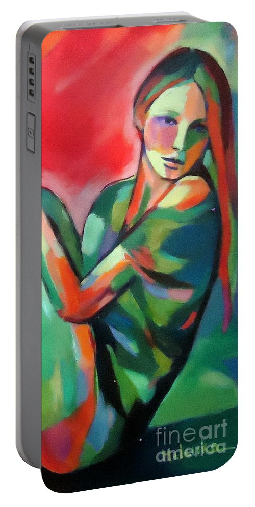 Nude Paintings Portable Battery Charger featuring the painting Girl by Helena Wierzbicki