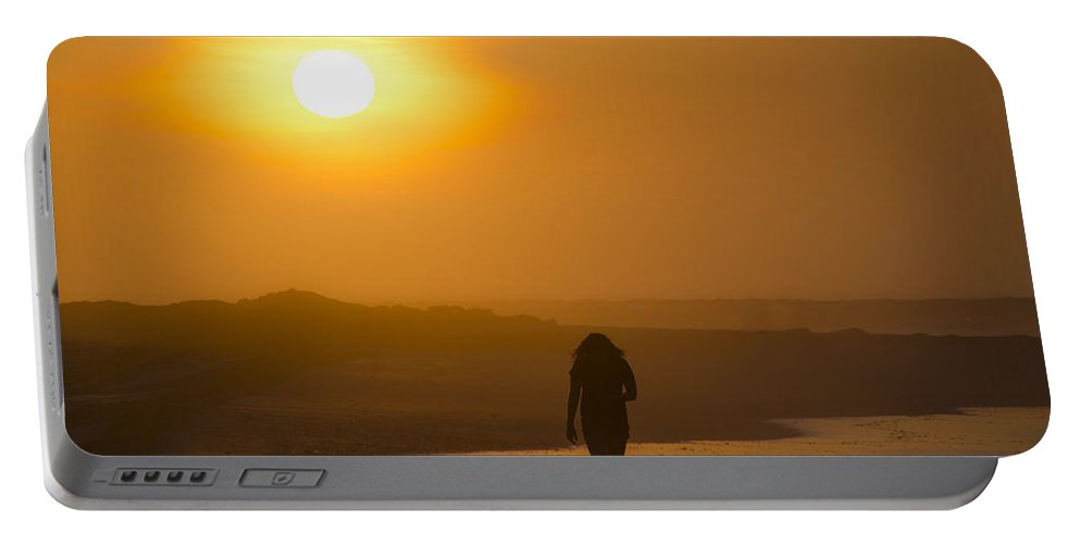 Girl Portable Battery Charger featuring the photograph Girl On The Beach by Bill Cannon