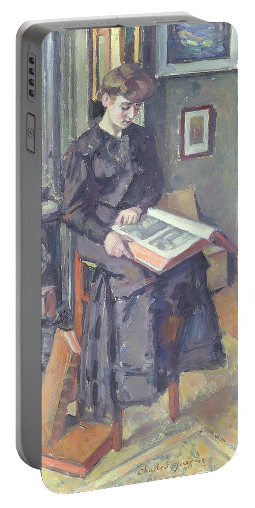 Female Portable Battery Charger featuring the painting Girl Reading A Book by Charles Francois Prosper Guerin