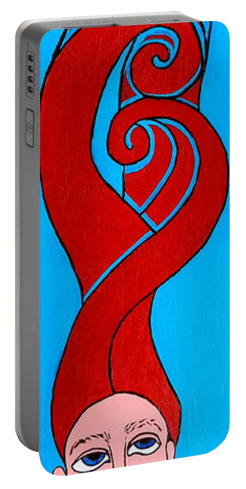 Girl Portable Battery Charger featuring the painting Girl With Celtic Hair by Genevieve Esson