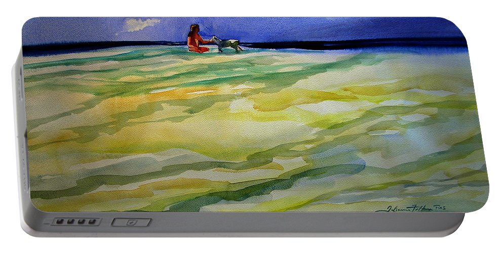 Impressionism Portable Battery Charger featuring the painting Girl With Dog On The Beach by Julianne Felton