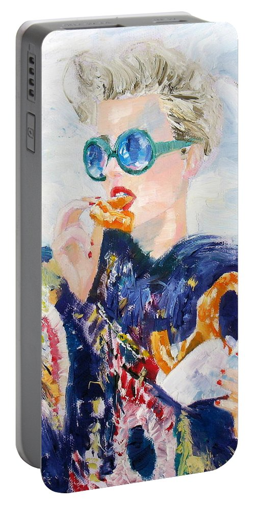 Girl Portable Battery Charger featuring the painting Girl With Glasses Eating Pretzel - Oil Portrait by Fabrizio Cassetta