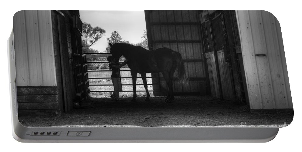 Horse Portable Battery Charger featuring the photograph Girl With Horse by J M Lister