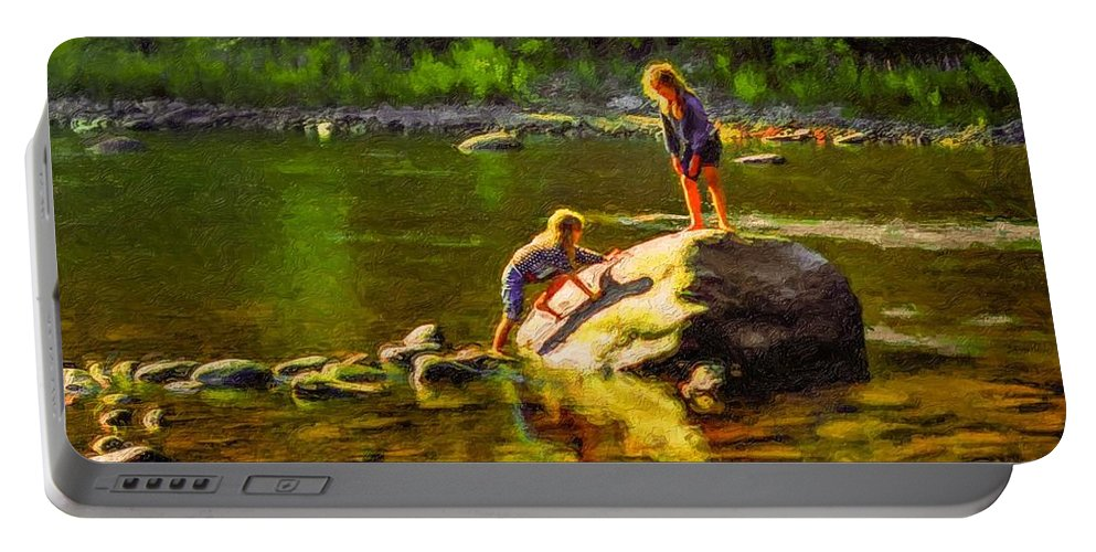 Girls Portable Battery Charger featuring the photograph Girlfriends Impasto by Steve Harrington