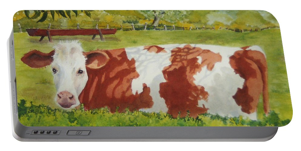 Cows Portable Battery Charger featuring the painting Give Me Moooore Shade by Mary Ellen Mueller Legault