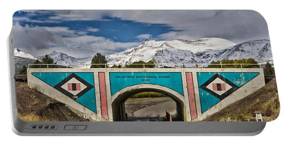 Sign Portable Battery Charger featuring the photograph Glacier National Park East Gate by Jerry Fornarotto