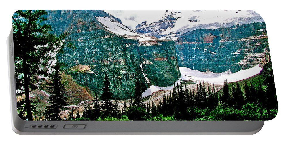 Glaciers Along Plain Of Six Glaciers Trail In Banff National Park Portable Battery Charger featuring the photograph Glaciers Along Plain Of Six Glaciers Trail In Banff Np-alberta by Ruth Hager